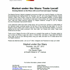 July 25th Market under the Stars Media Release