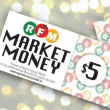 If you've been diligently accumulating punches on your RFM punch card, tomorrow is a great day to cash them in! « » Customers with 20 punches can redeem them tomorrow for $5 in free RFM Market Money, which can be used like cash at any RFM vendor. Find o