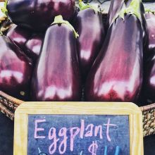 Shoutout to Floating Gardens for supplying our indoor markets with fresh greens and other greenhouse goodies! Amongst the green leafy veggies, you'll also find deep purple eggplant. Floating Gardens' eggplant is absolutely perfect – rich colour, recogni