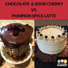 Two of the best cake bakers in the biz will be bringing their wares to market tomorrow! Where do you lean? Chocolate with sour cherry (by @somethingsweetbyfadiah ) or Pumpkin Spice Latte (by The Cake Queen/Auntie Meme's Cakes)? « » (HINT: you don't ne