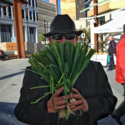 Willie with green onions.