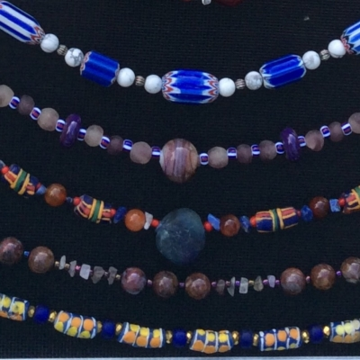 necklaces with African beads and semi-precious stones