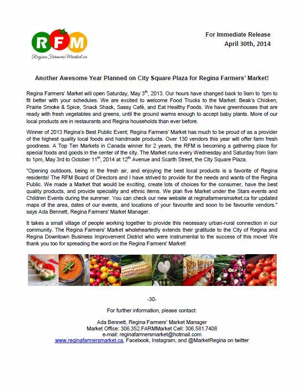 2014 Regina Farmers' Market Media Release! - Image 1