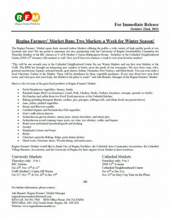 RFM Media Release: Two Winter Markets a week during 2013 Winter!  - Image 1
