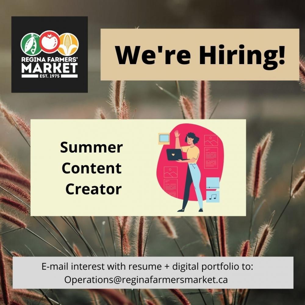 We're Hiring! Summer Content Creator