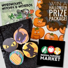 🚨HALLOWEEN CONTEST ALERT!🚨 « » You never know what (or who) you'll find at the Regina Farmers' Market! This Saturday, October 27, you'll find local author Brodie Aikman and his children's book Werewolves, Witches, and Weirdos. Stop by the RFM Ki